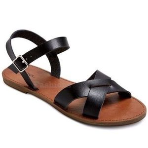 Merona Elke Criss Cross Strap Black Sandals Size 9